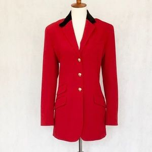 LAUREN Ralph Lauren Velvet Collar Red Wool Blazer